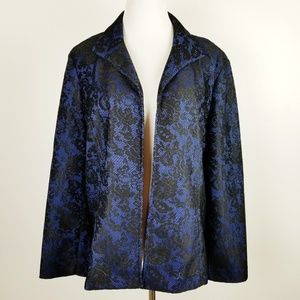 CHICO'S Blue Black Lace Open Front Cardigan Jacket